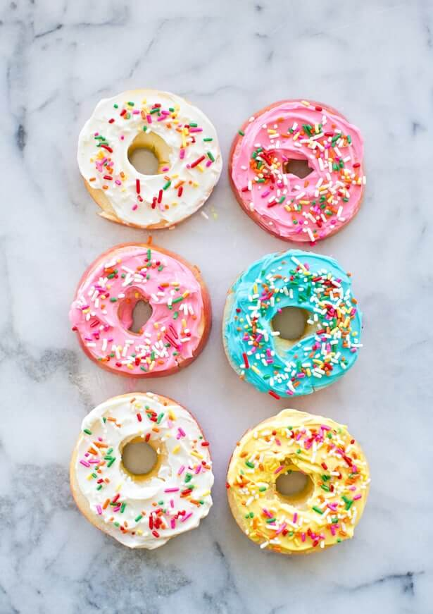 Apple donuts on marble background