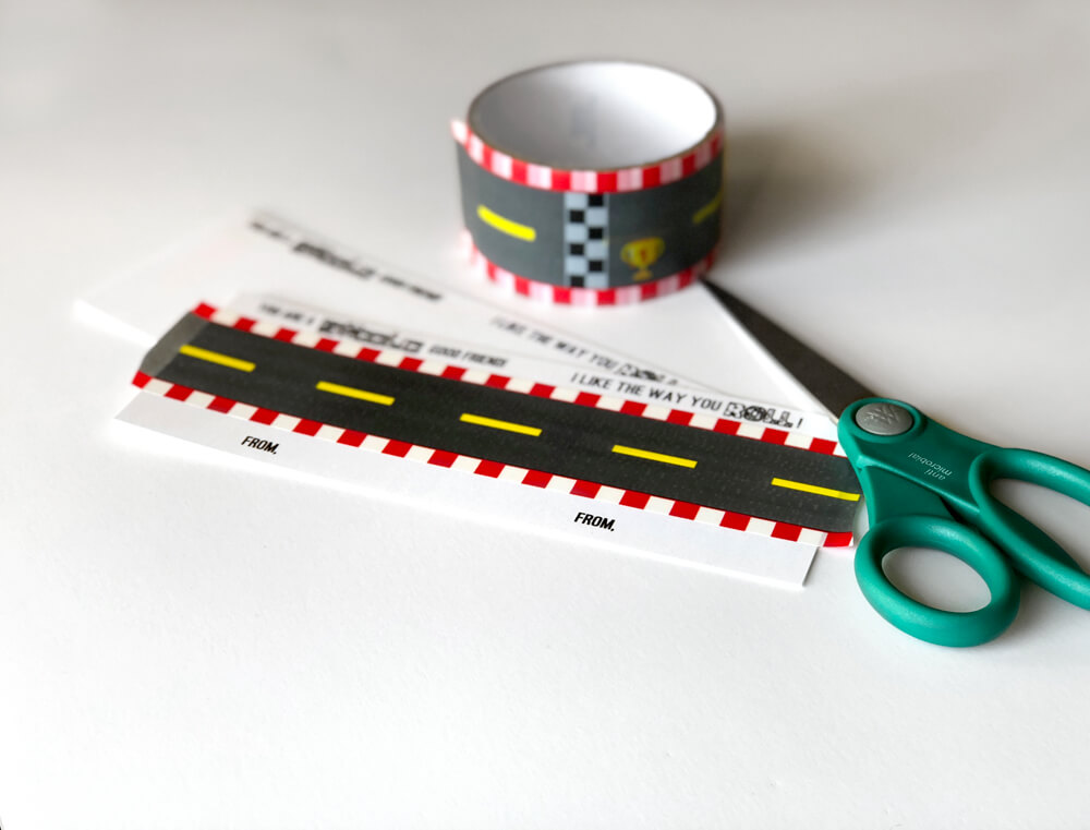 Add tape to a simple Car Valentine printable