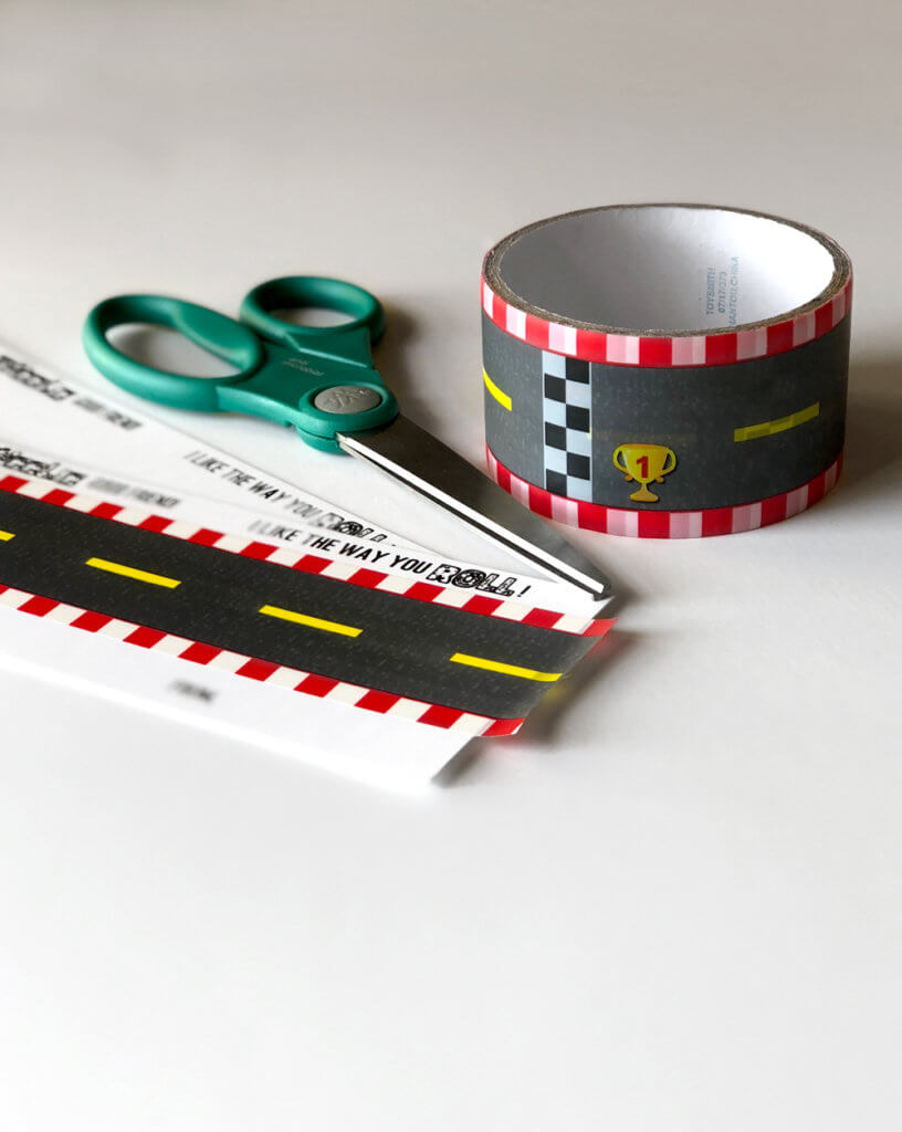 Trim the tape edges for a clean car valentine printable.