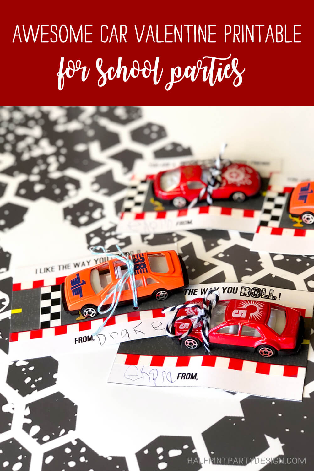 Awesome car valentines for school parties tied with a string