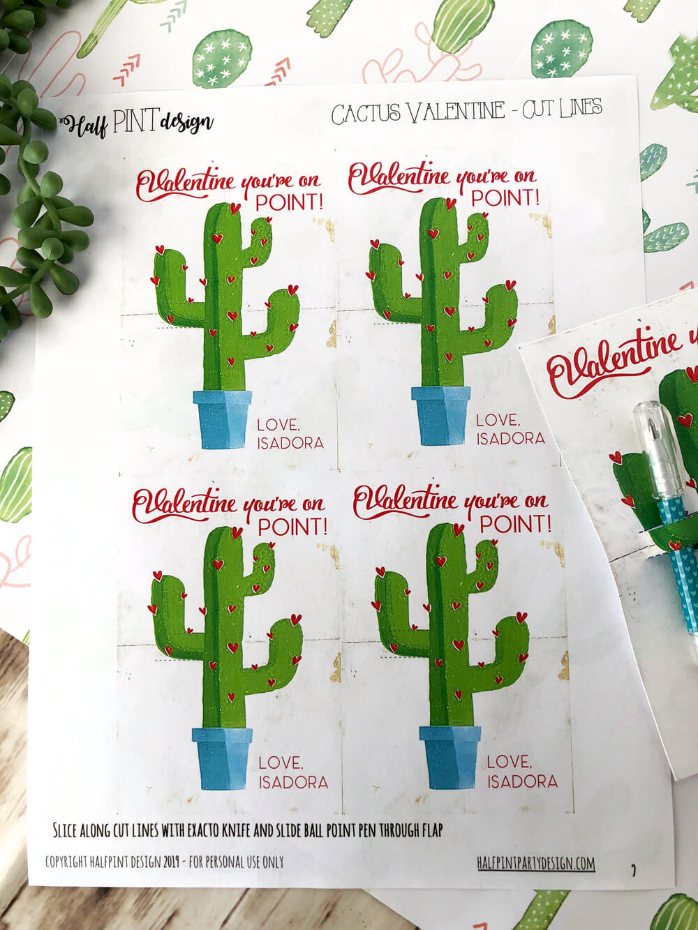 Printable sheet of cactus valentines day cards for download