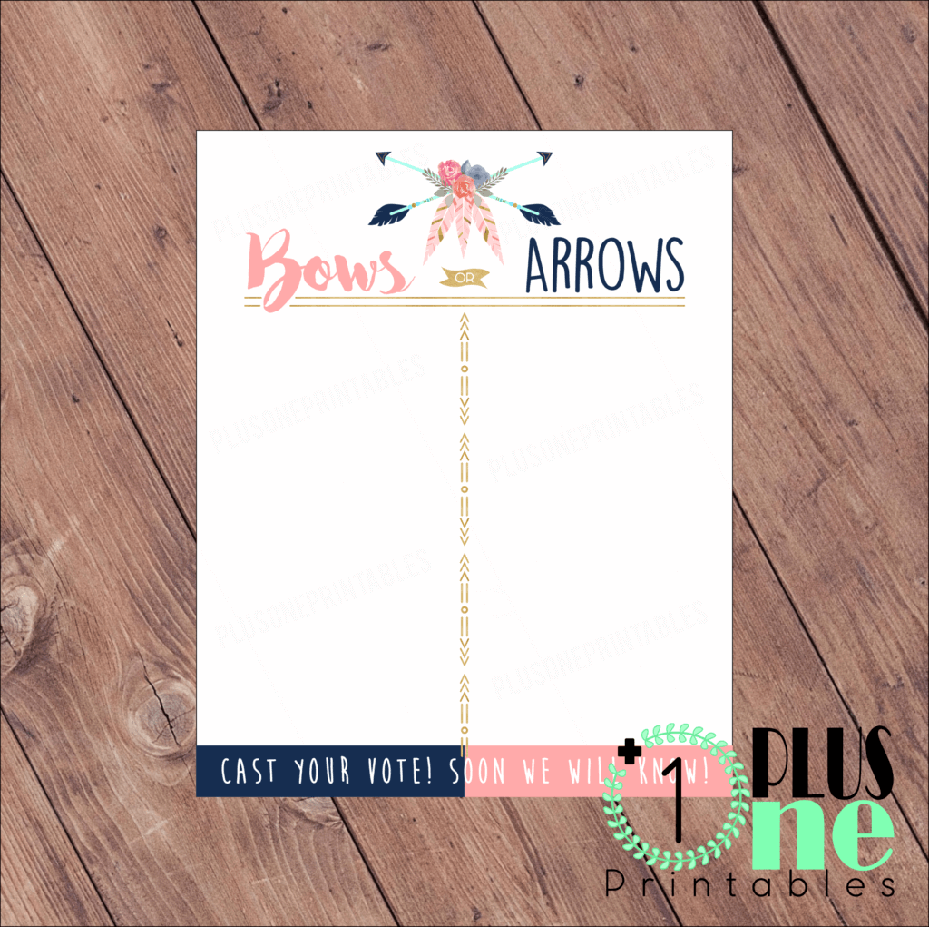 Bows or arrows tally sheet for Humorous Gender Reveal Party Ideas