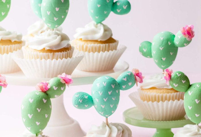 Cactus cupcake toppers for a cactus fiesta, a top party trend theme