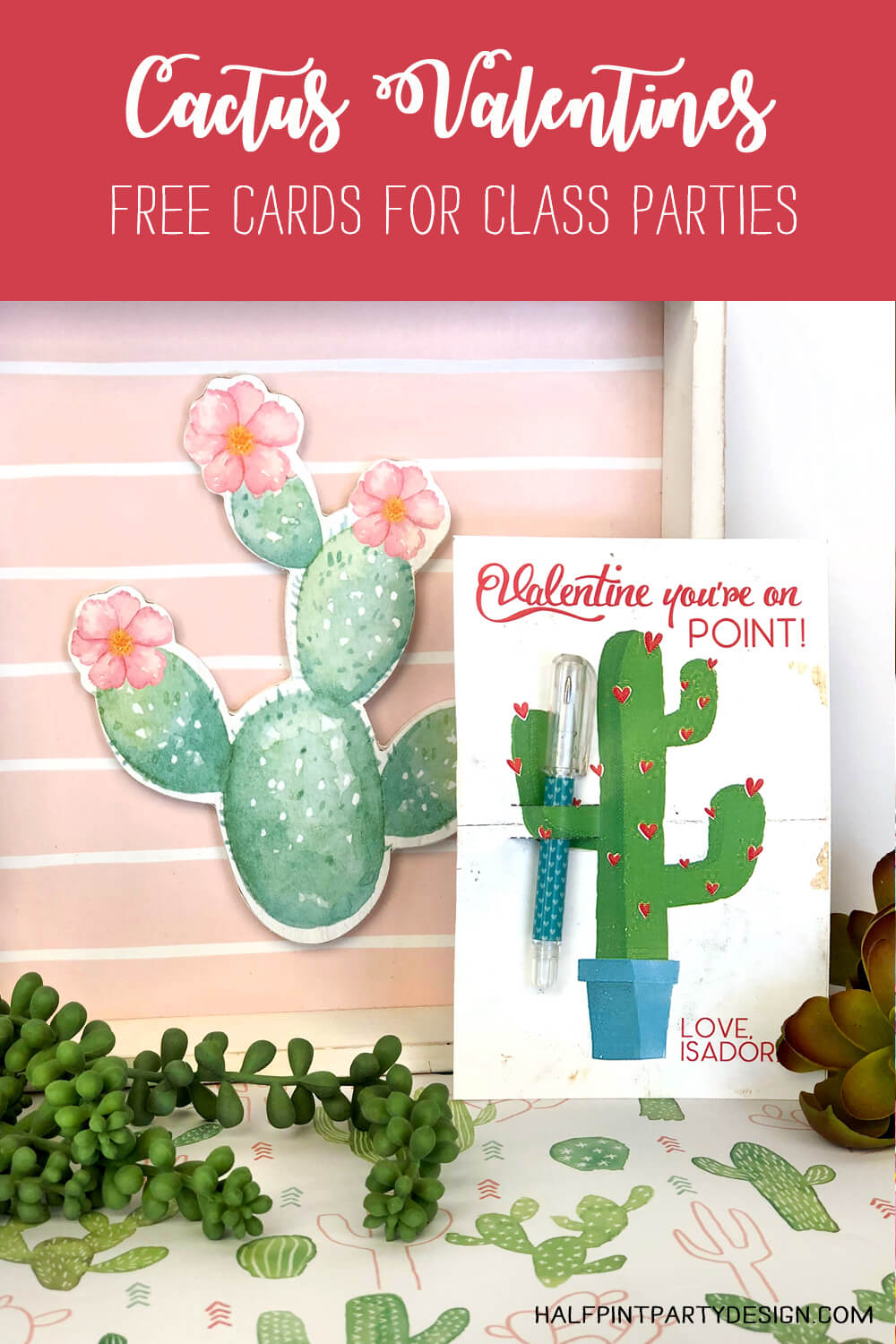 Cactus valentines day card with mini ball point pen in front of cactus art