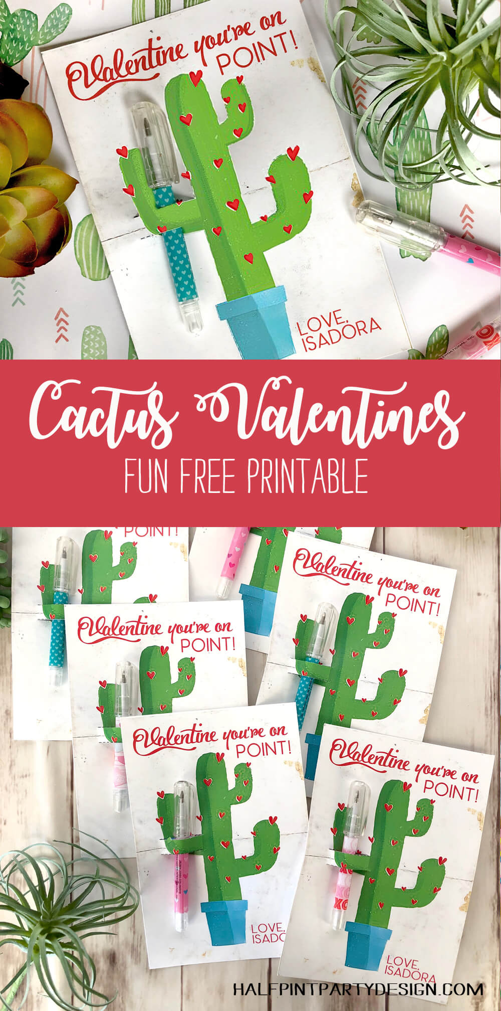 Darling Cactus Valentines with fun free printable