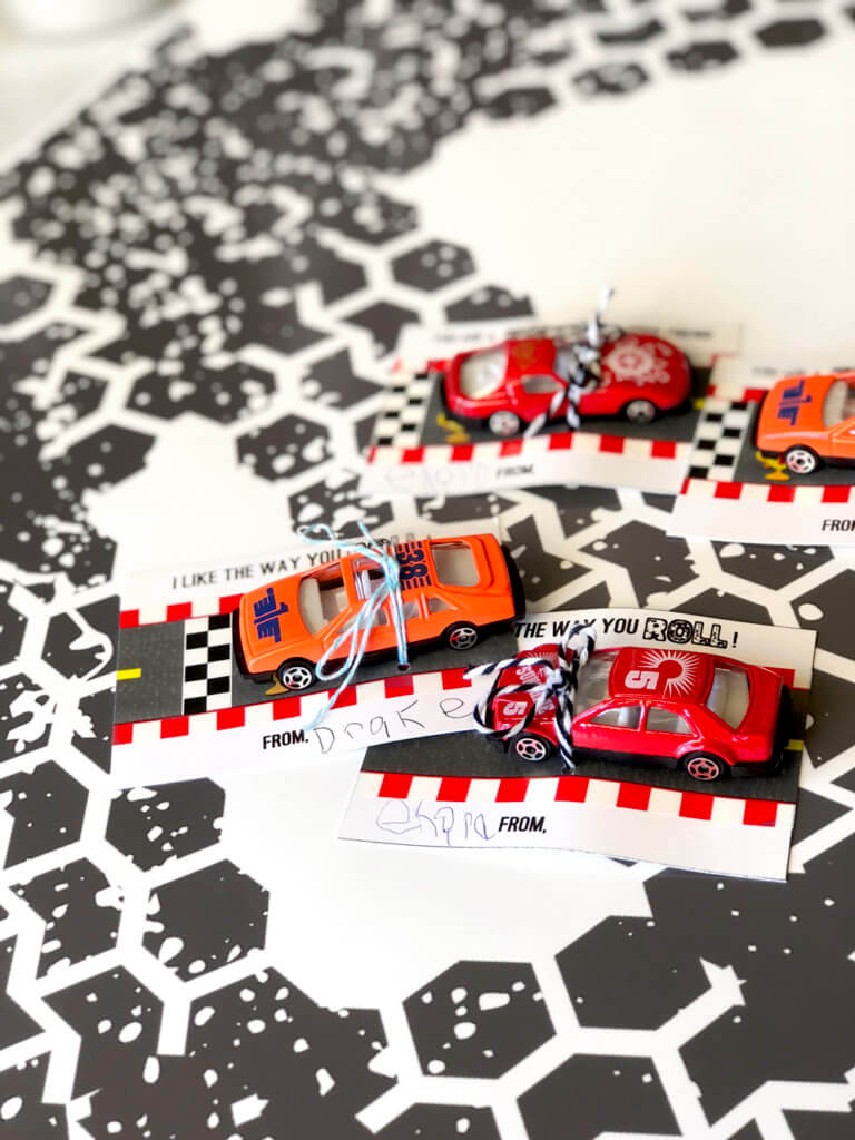 Car valentine printable all tied up and ready to give