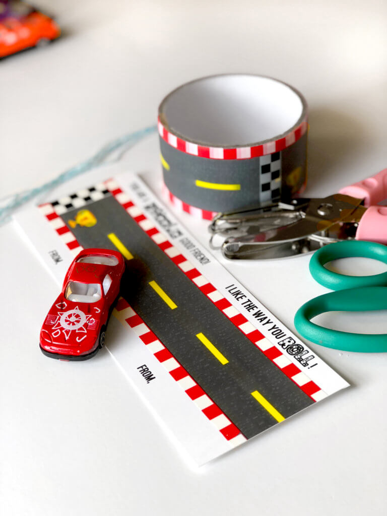 Supplies to make a valentine. Car valentine printable