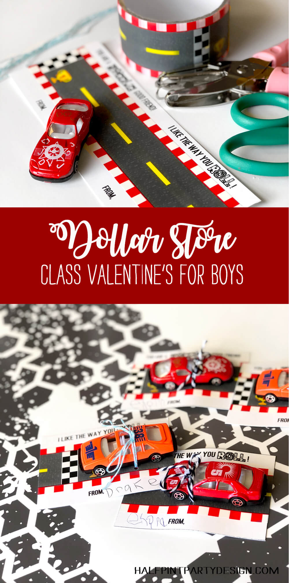 Dollar store class valentine's for boys with car valentine printable