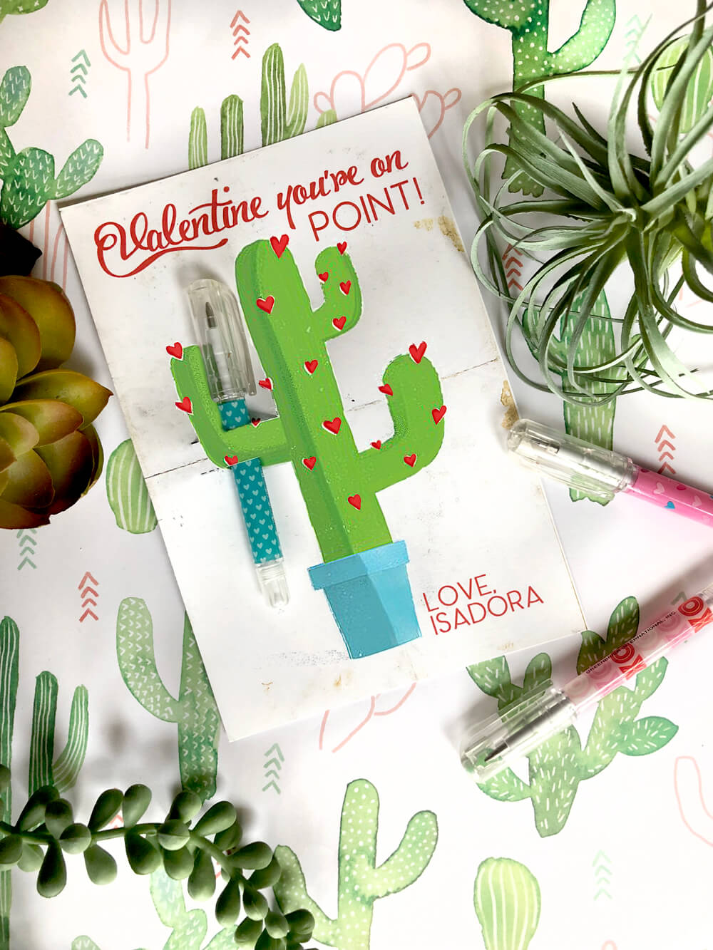 Cactus valentines day card with mini ball point pen