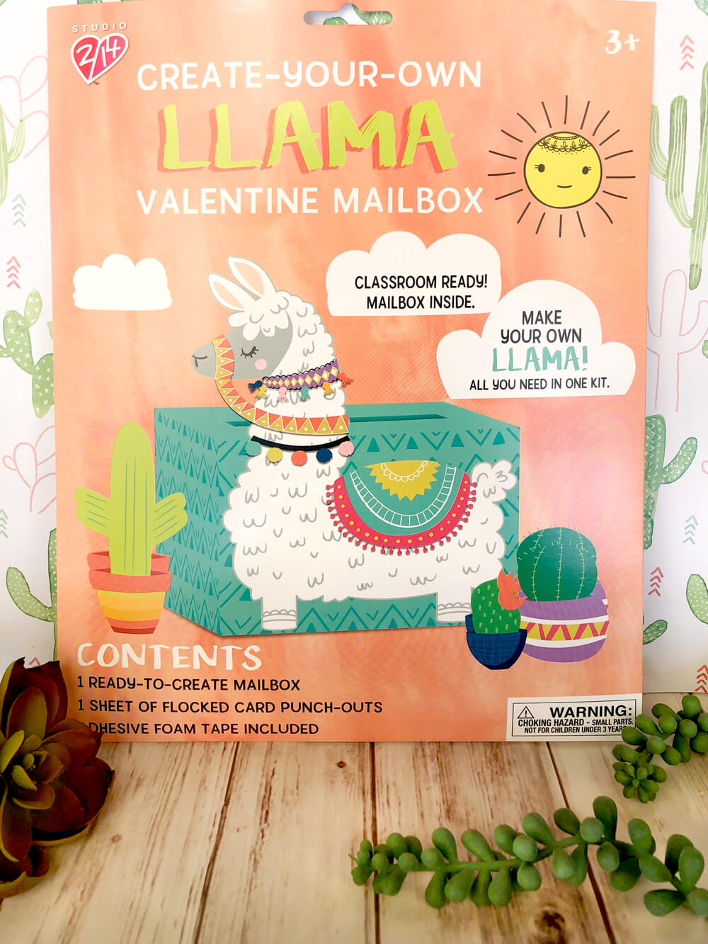 Llama valentine box kit for cactus valentines days cards