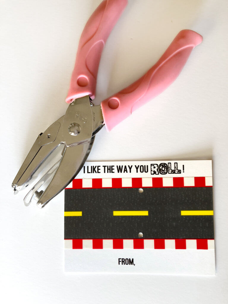 Car valentine printable with mini hole punch