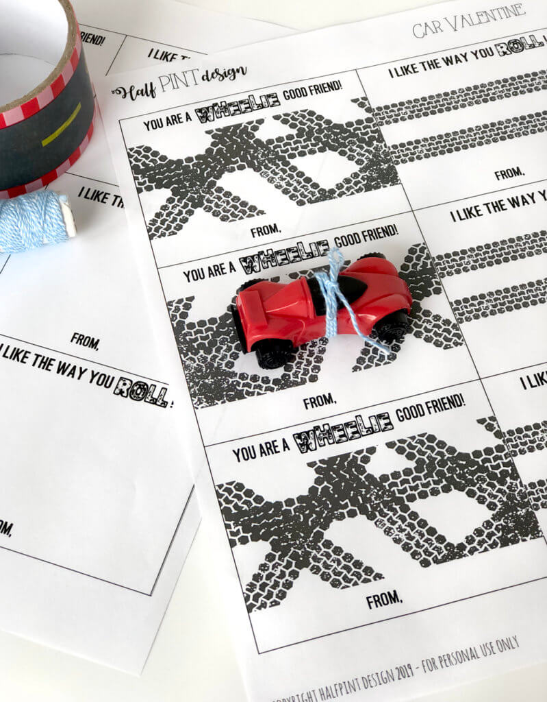Tire tracks for an awesome car valentine printable