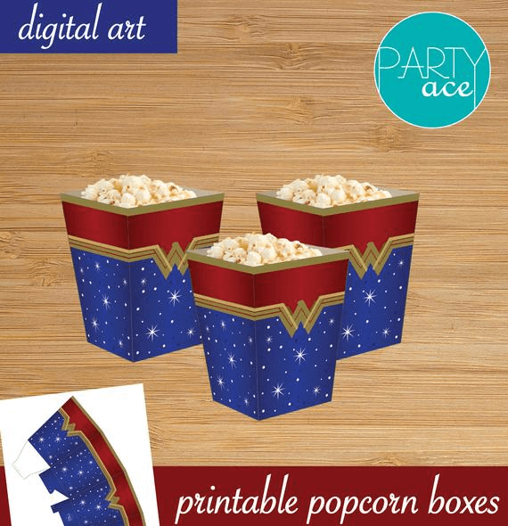 Printable popcorn boxes to display your Wonder Woman Party Food!