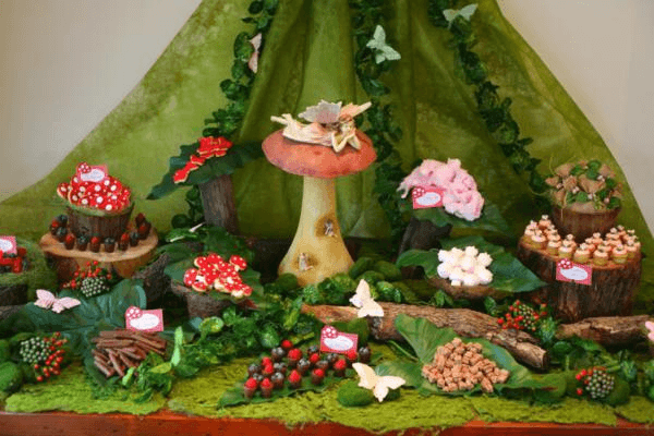 Fairy woodland table display is a top party trend