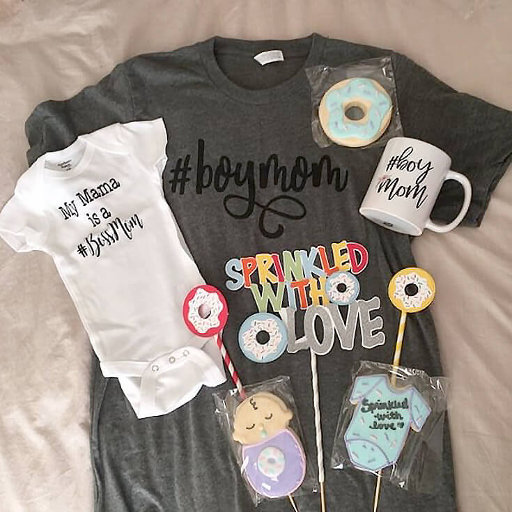 Boy mom gift package for a donut sprinkle baby shower