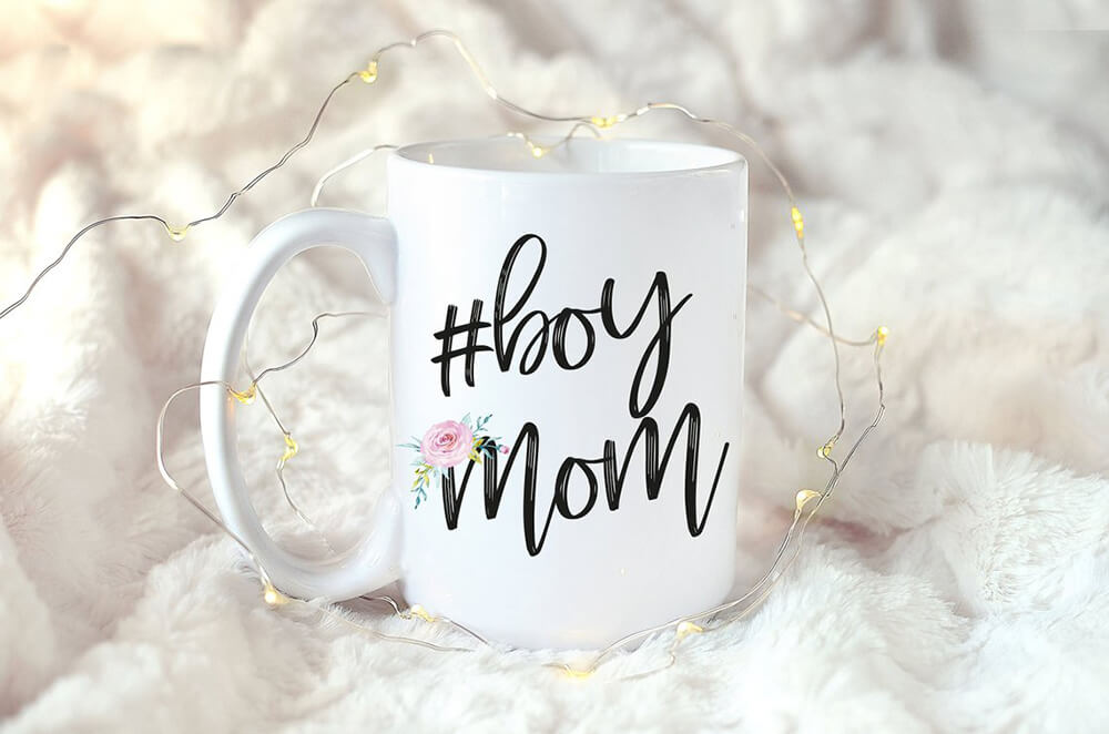 Boy mom mug for a donut sprinkle baby shower gift