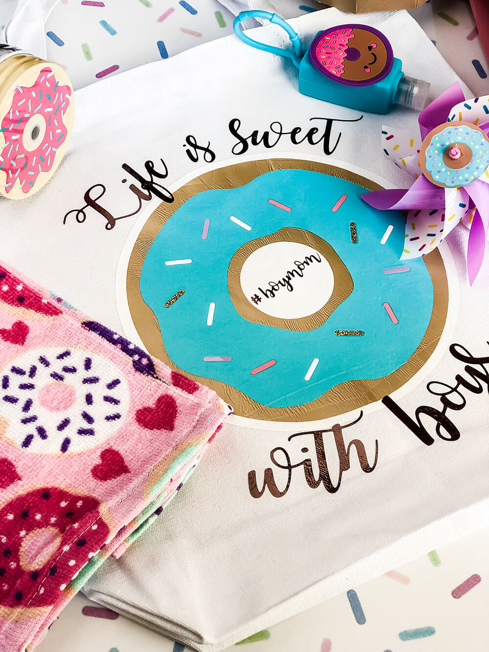 Life is sweet with boys. Boy mom tote bag for donut sprinkle baby shower gift idea