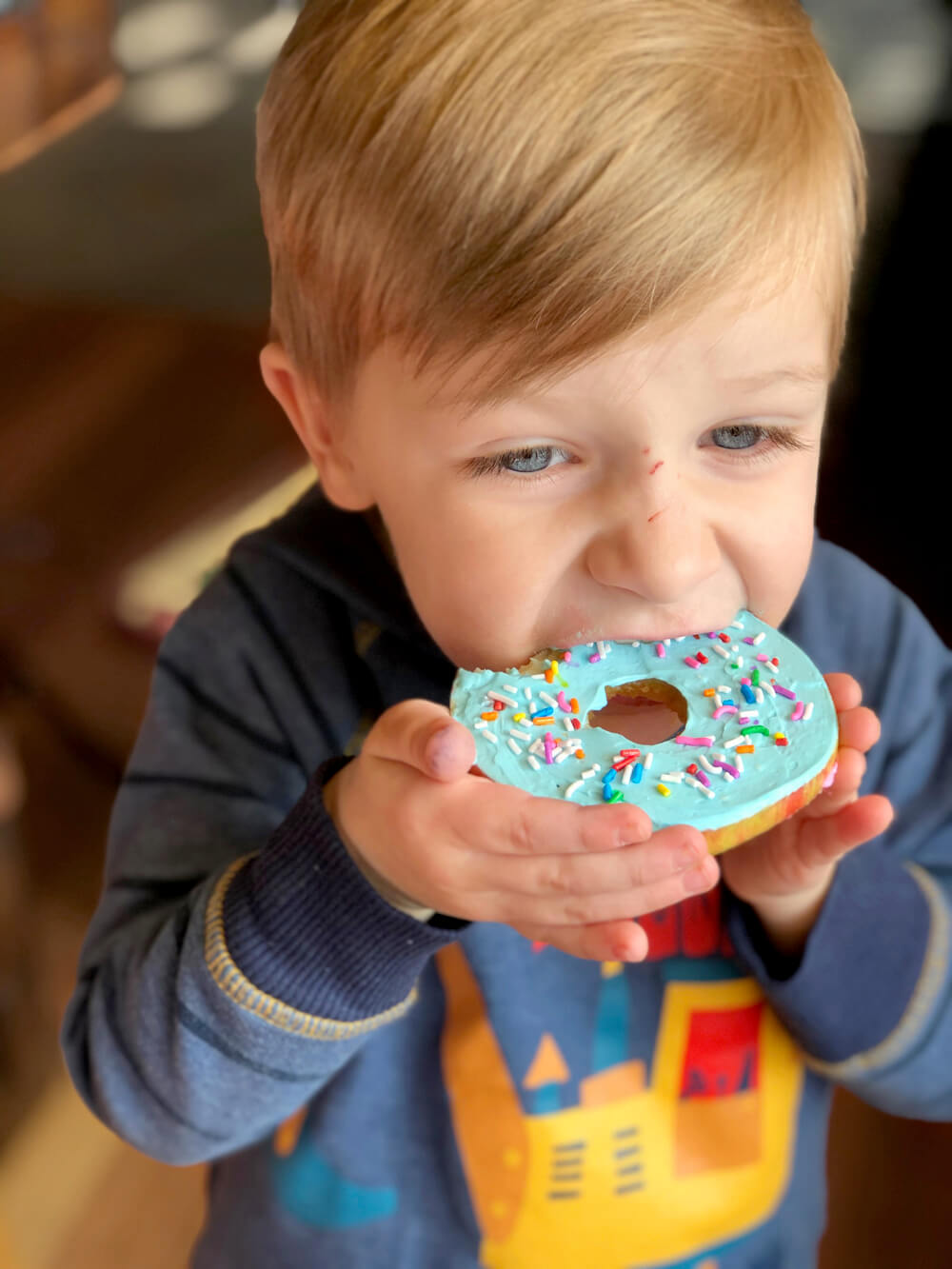 Little boy enjoying apple donuts a healthy foodie party treat