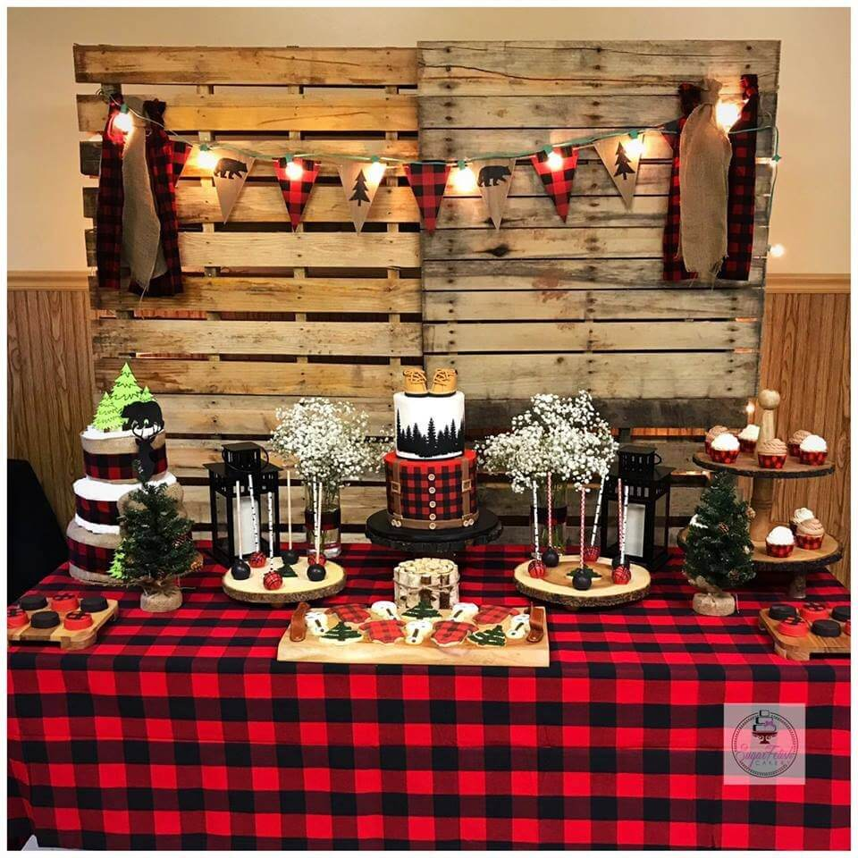 A lumberjack baby shower in perfectly on point for a top party trend