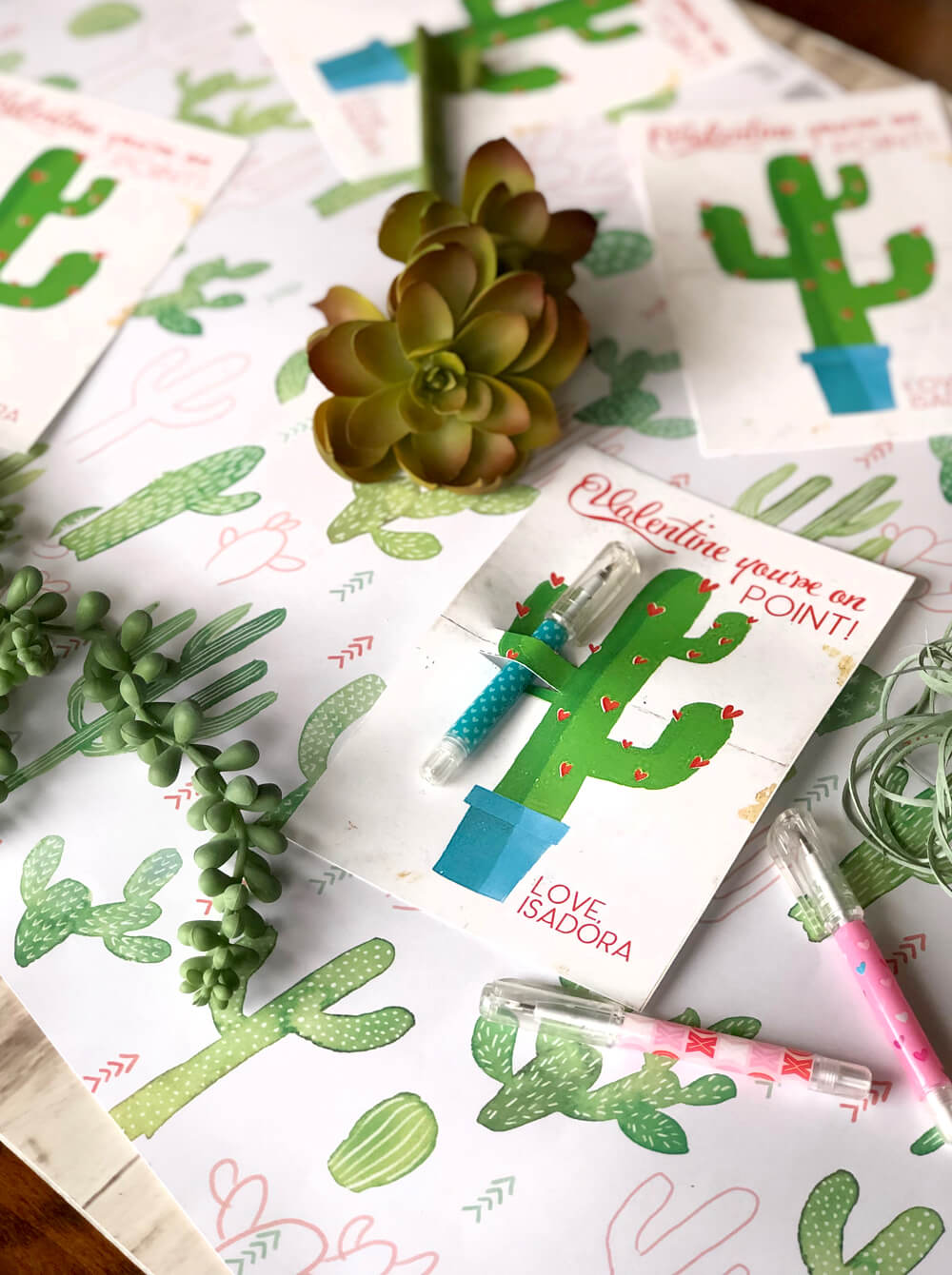 Easy and fun cactus valentines with ball point pen to stay on point