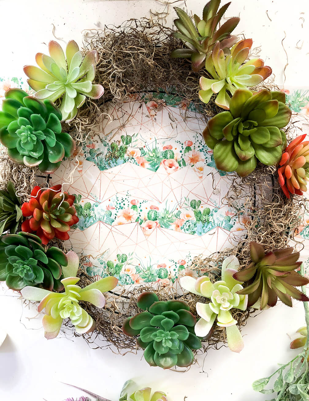 dollar store succulent wreath tutorial showing where to add color