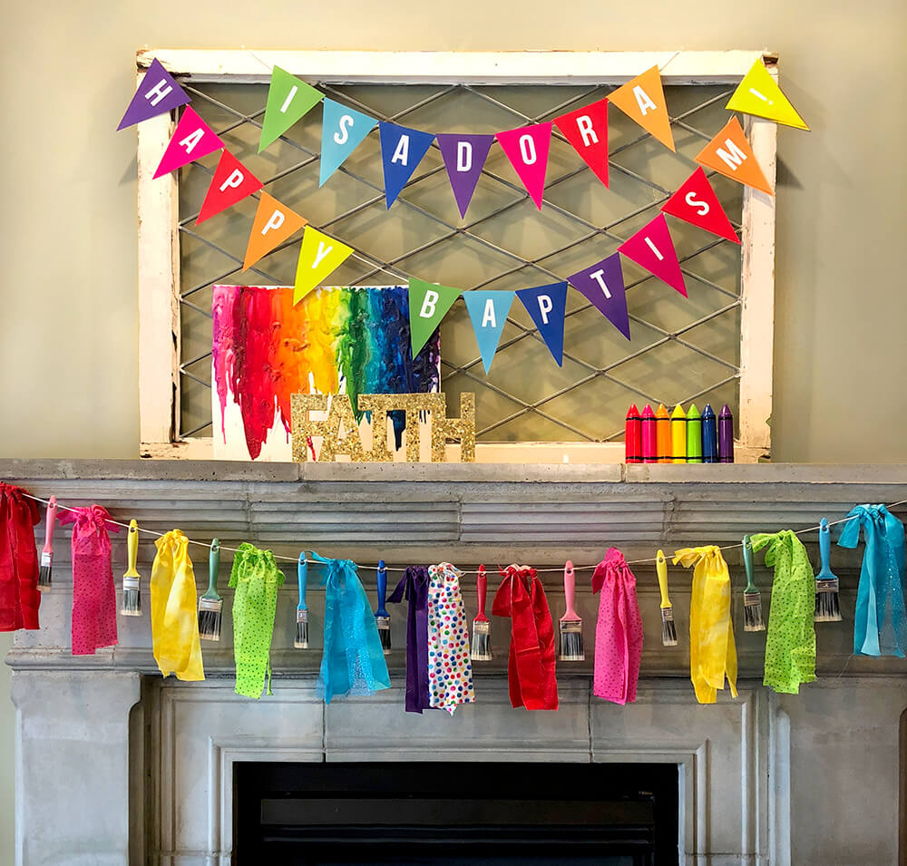 Rainbow baptism mantel decor for over the rainbow party