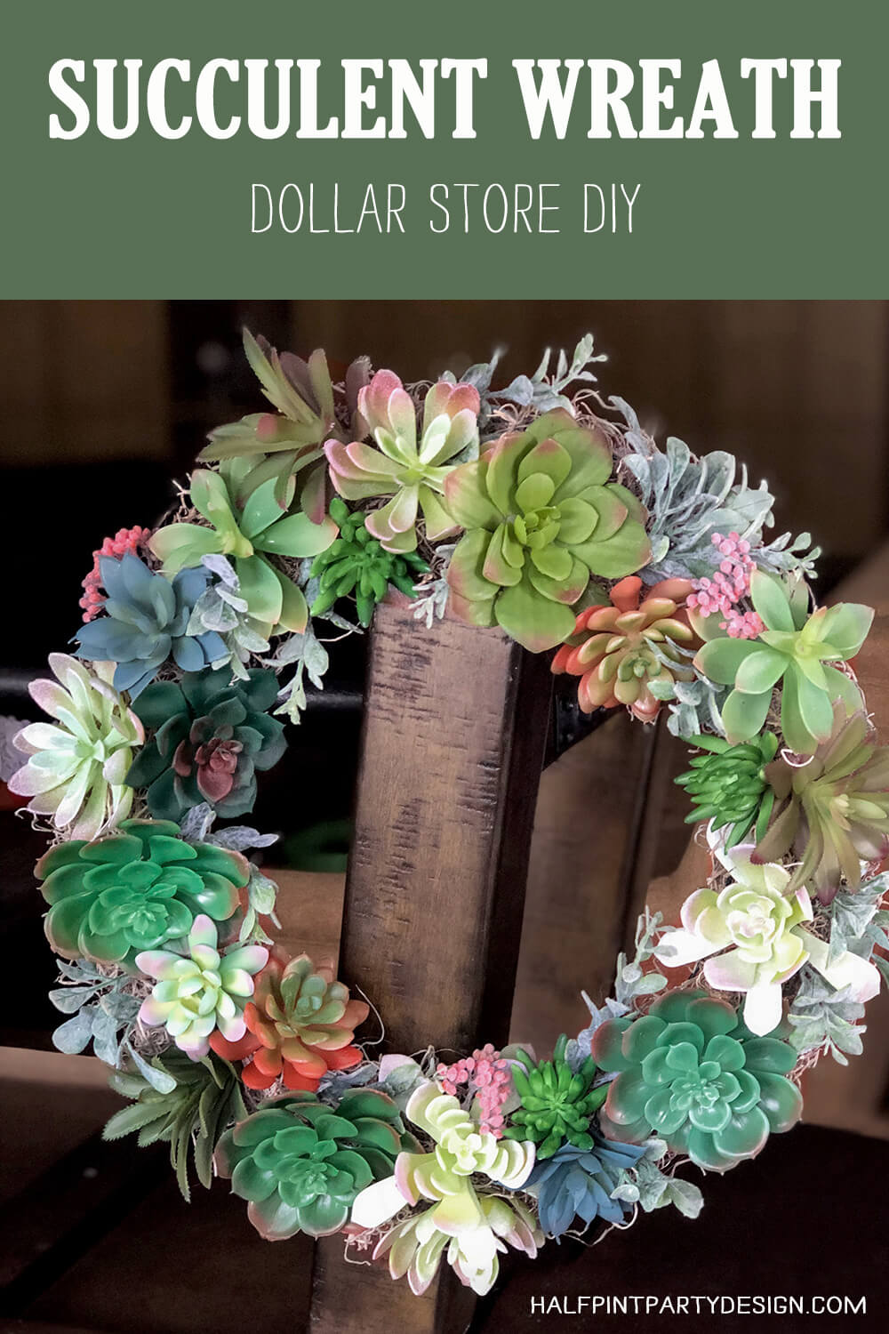 Dollar store Succulent wreath tutorial - wreath hanging on post