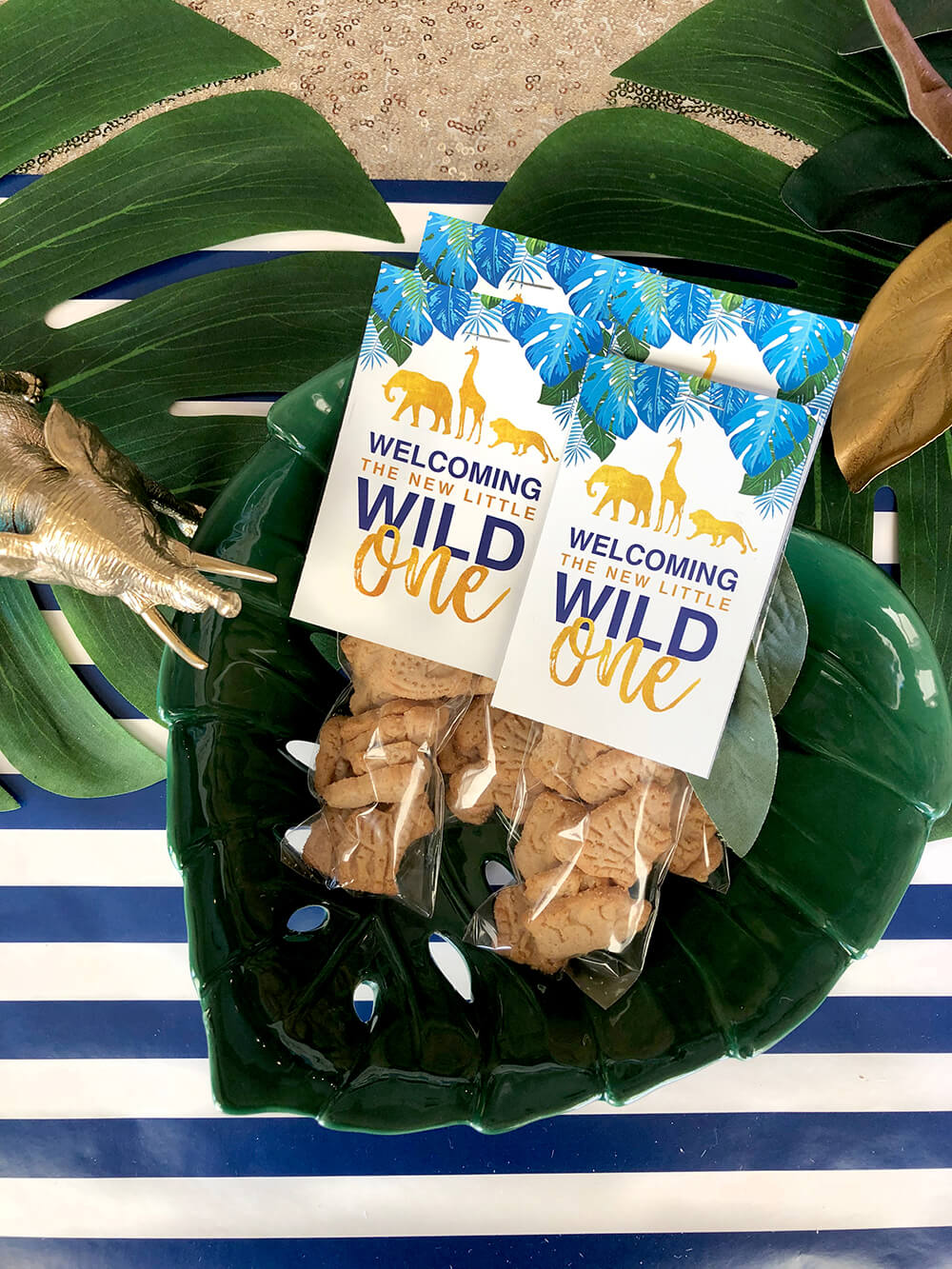 Wild One favor tags for a glam safari baby shower