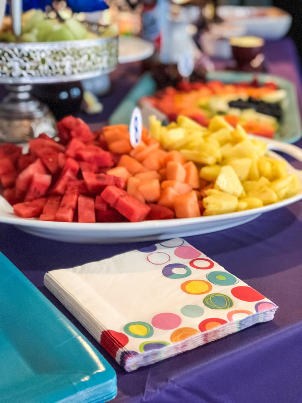 Colorful fruit for an over the rainbow party brunch