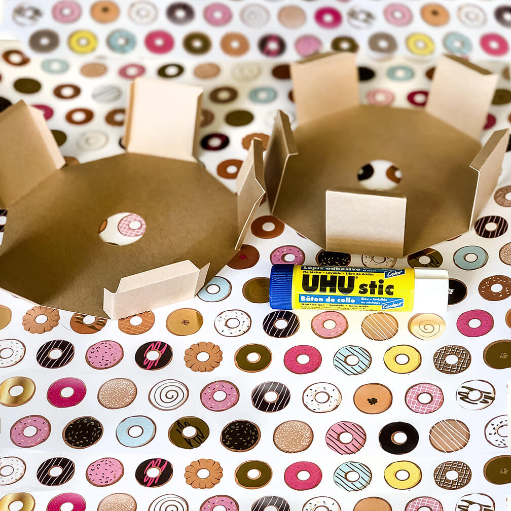 All tabs folded for a Donut party favor box