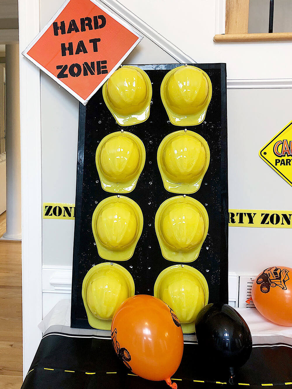 Hard hat station for Boys construction birthday party
