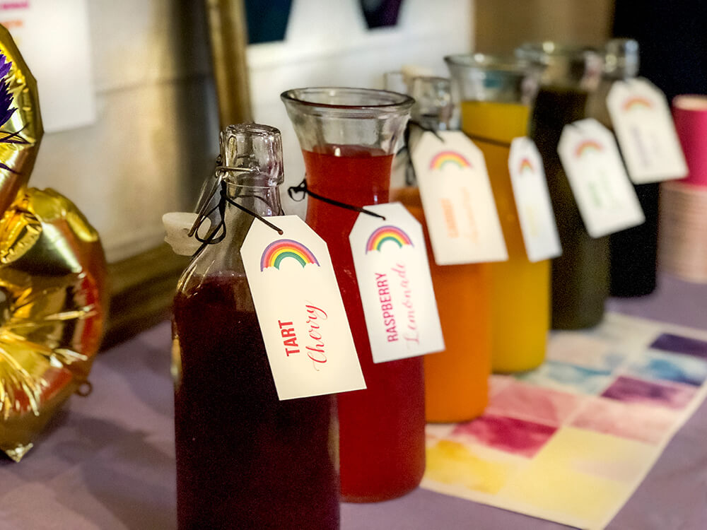 Rainbow juices for over the rainbow party brunch