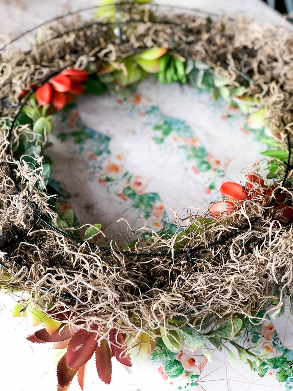 succulent wreath tutorial showing Spanish moss on back of form