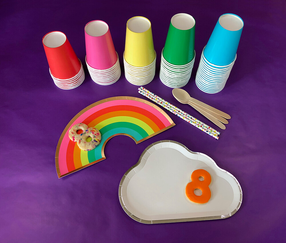 Rainbow and cloud plates for over the rainbow party