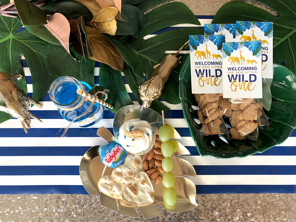 Jungle safari baby shower tablescape