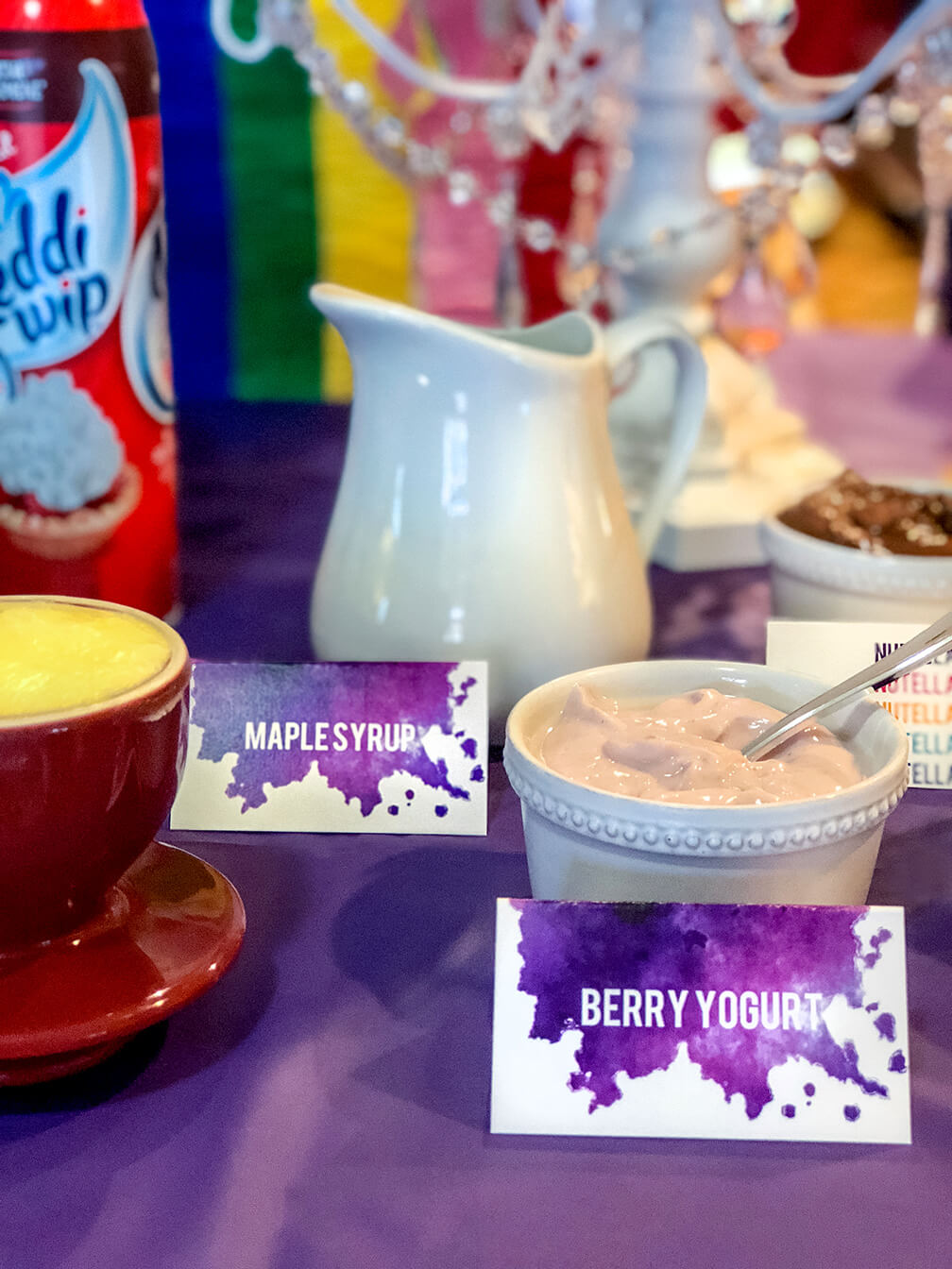 Waffle toppings for an over the rainbow party brunch