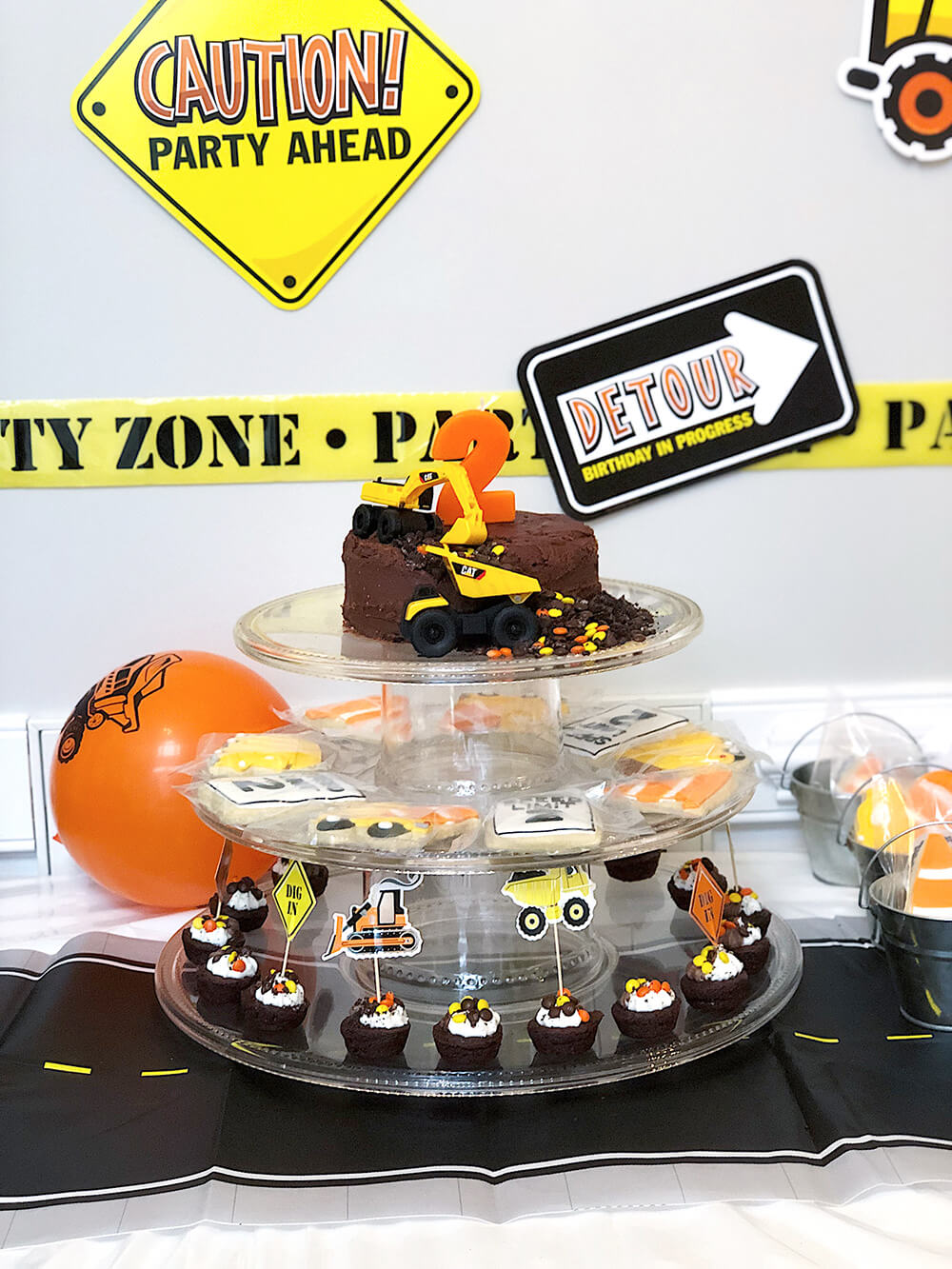 Fun treat tower for a Boys construction birthday party