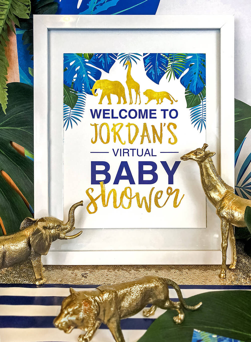 Welcome sign for glam safari baby shower