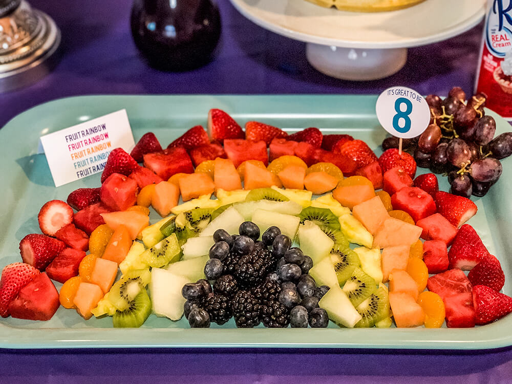 Rainbow fruit tray for over the rainbow party brunch