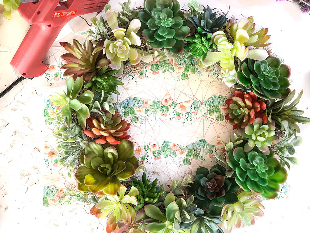 succulent wreath tutorial showing finished wreath