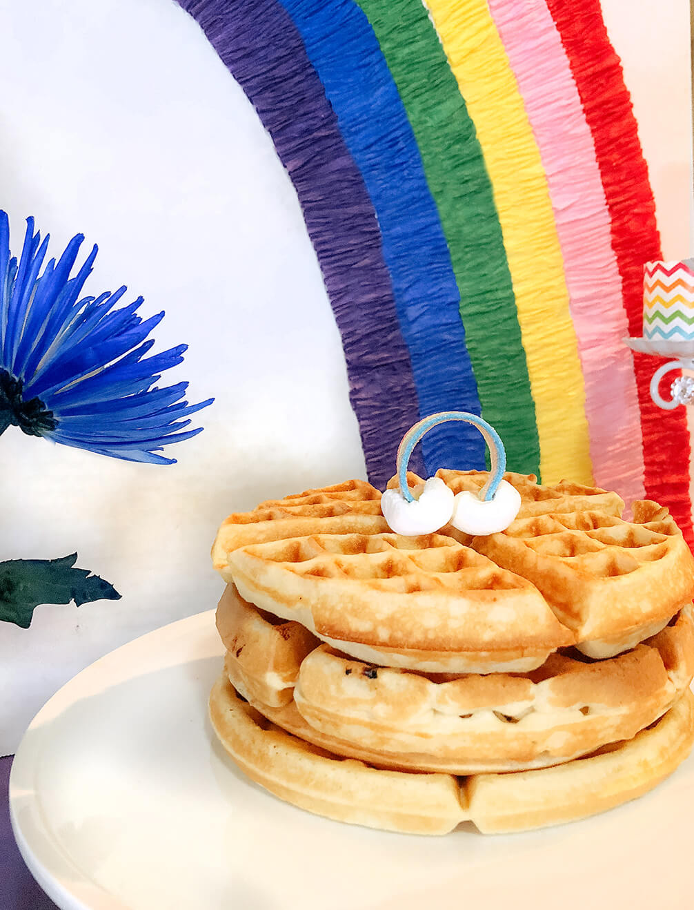 Waffle cake for an over the rainbow party