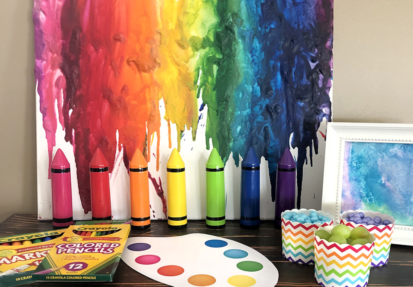 Melted crayon art rainbow tutorial on canvas for art party