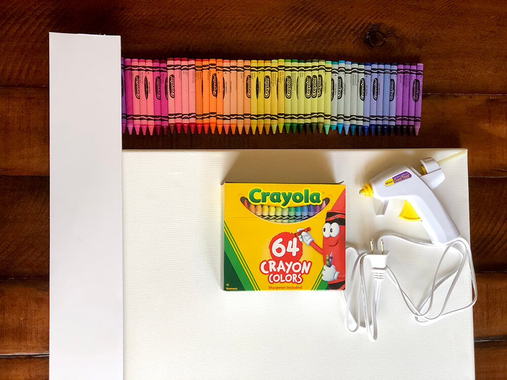 Rainbow of crayons selected for Melted crayon art tutorial