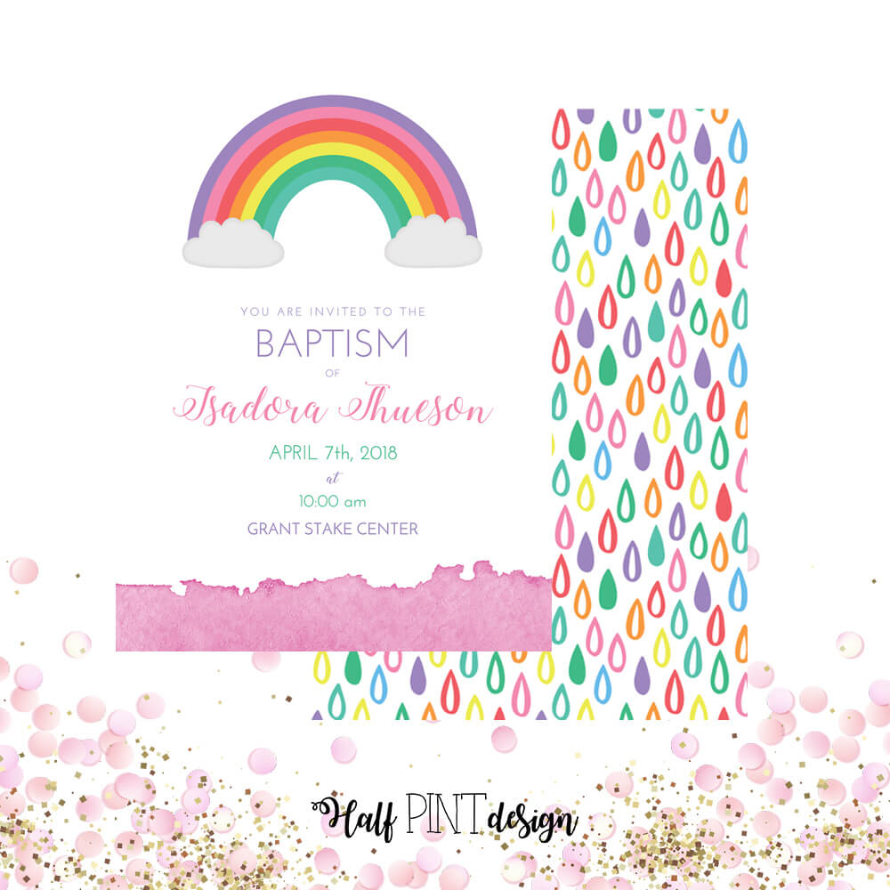 Girls rainbow themed LDS baptism invitation