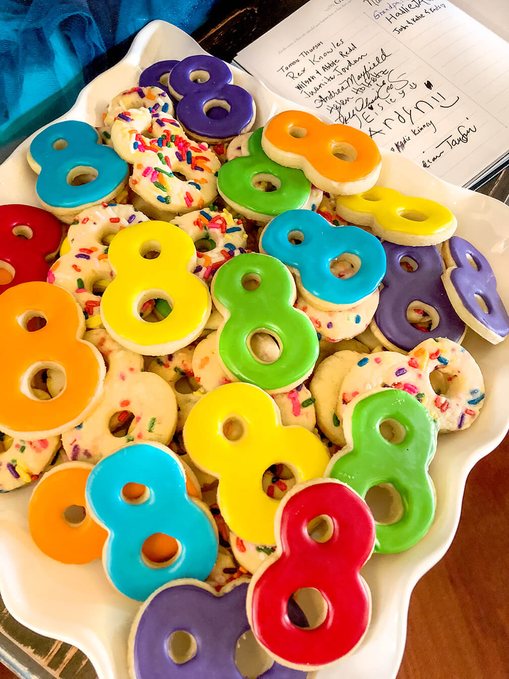 Great to be 8 cookies for rainbow themed LDS Baptism