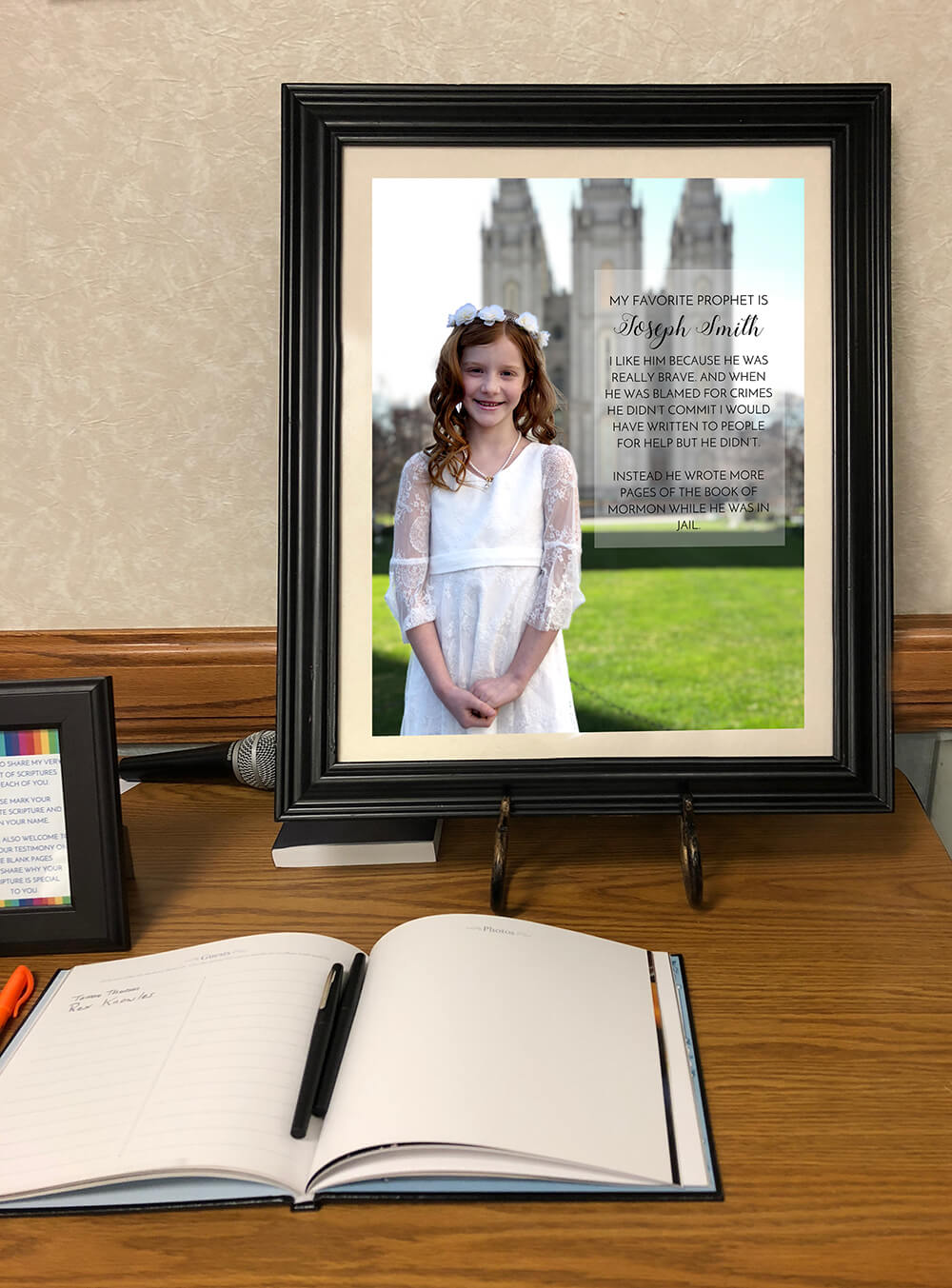 Framed image of girl at temple for a rainbow themed LDS baptism