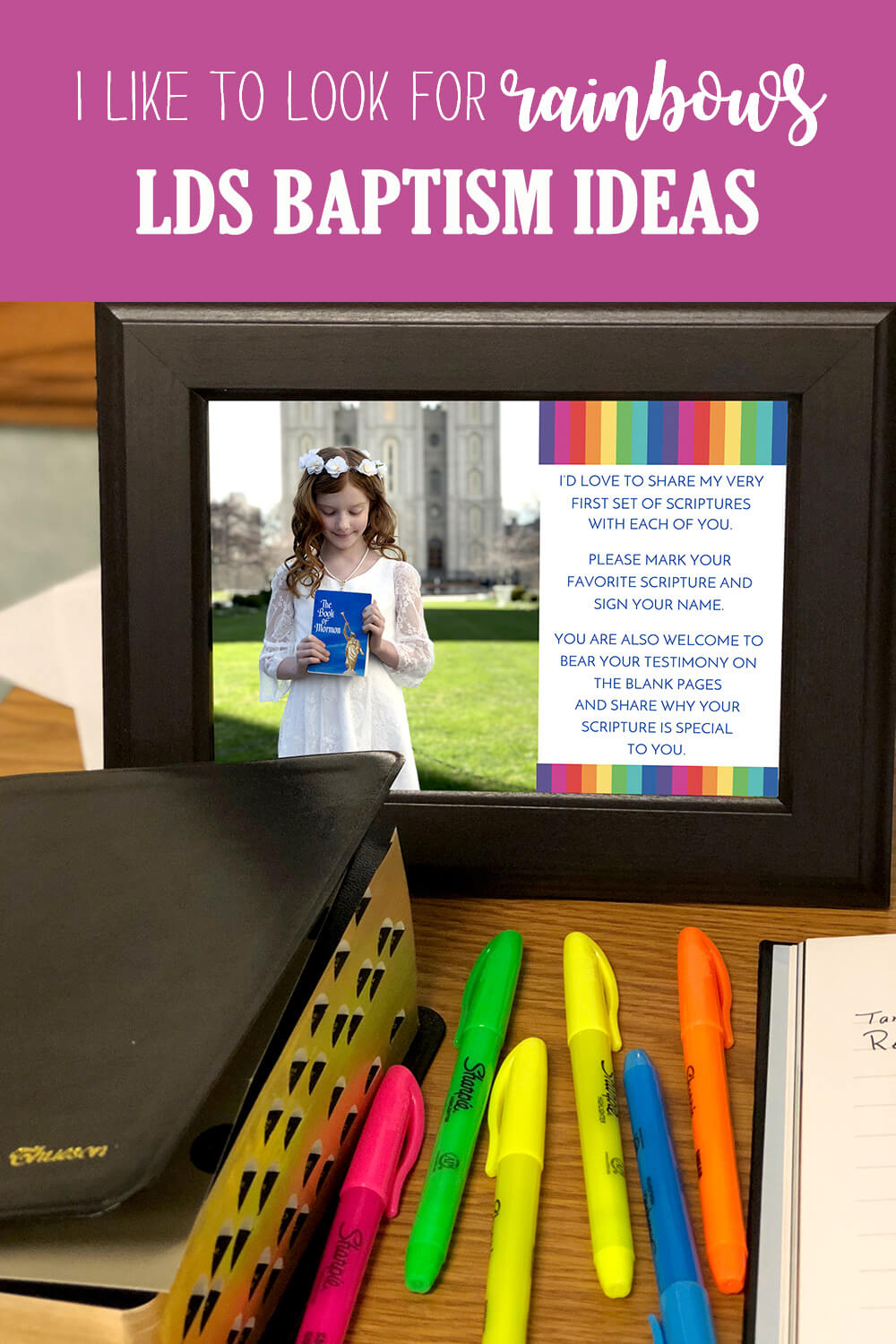 Scripture marking at a Rainbow themed LDS baptism ideas