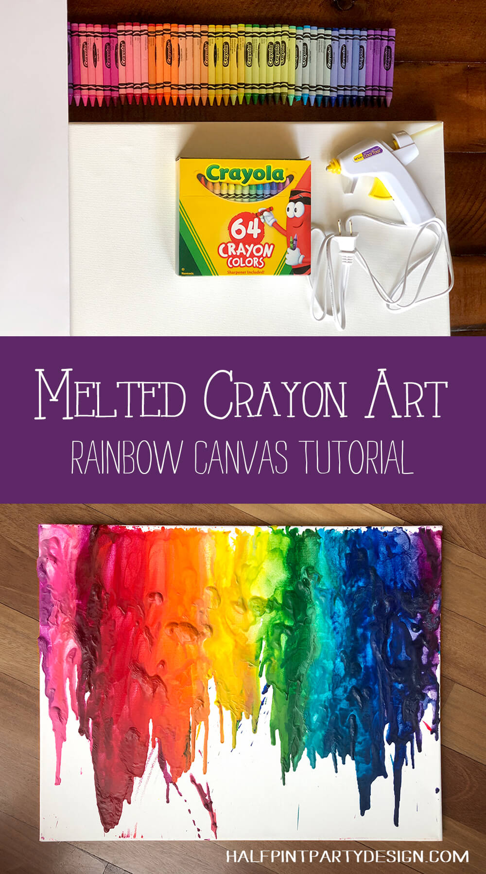 Melted crayon art rainbow canvas tutorial