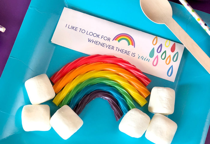 Candy licorice rainbow party favor for girls rainbow themed LDS baptism party favor