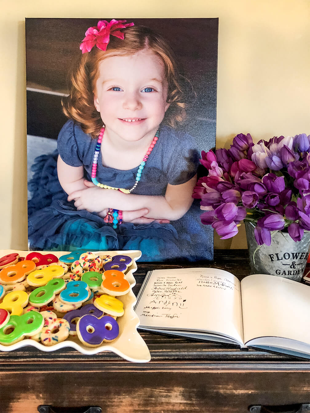 Child photo, Memory book, and sugar cookie 8's for rainbow themed LDS baptism